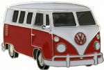 VW Red Campervan Officially Licensed Belt Buckle with display stand and presentation box. Code VWVAN08
